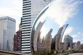 Part Of Cloud Gate And Chicago Skyline On April 23, 2015 In Chicago, Illinois. Cloud Gate Is The Art poster