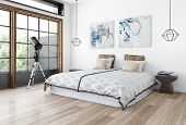 Minimalist design bedroom concept with white wall, paintings and wide bed on wooden floor and telesc poster