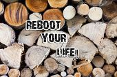 Conceptual Hand Writing Showing Reboot Your Life. Business Photo Text Start New Career Meet New Show poster