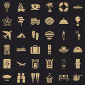 Travel Luggage Icons Set. Simple Style Of 36 Travel Luggage Vector Icons For Web For Any Design poster