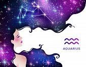 Aquarius Zodiac Vector Illustration. Astrological Sign As Young Woman Character. Stardust, Space, Ga poster