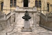 History of the Croats sculpture in front of University Rector's Building in Zagreb-Croatia