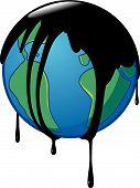 Terra envolvida no óleo cru