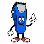 Electrical Hair Clipper Mascot Pointing - A Vector Cartoon Illustration Of A Barber Shop Electrical  poster