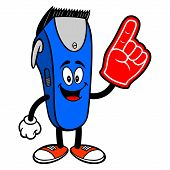 Electrical Hair Clipper Mascot With A Foam Hand - A Vector Cartoon Illustration Of A Barber Shop Ele poster