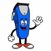 Electrical Hair Clipper Mascot Waving - A Vector Cartoon Illustration Of A Barber Shop Electrical Ha poster