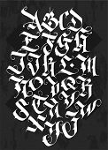 Full Alphabet In The Gothic Style. Vector. Letters And Symbols On A Black Background. Calligraphy An poster