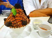 Bingsu Dessert On Blurred People As A Background, Closeup Choco Volcano Bingsu On White Bowl, This D poster