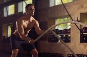 Fit, Sporty And Athletic Sportsman Working In A Gym. Man Training Using Battle Ropes. Sports, Athlet poster