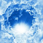 Religion Concept Of Heavenly Background. Divine Shining Heaven With Dramatic Clouds, Light. Sky With poster