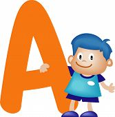 image of alphabet letters  - Happy kid playing with Alphabet letter A - JPG