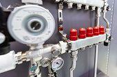 Distribution Node, Collector Water Heated Floor. Modern Heating Equipment. poster