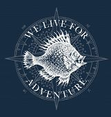 Vector Banner With Big Hand-drawn Fish And Wind Rose In Retro Style. Illustration On The Theme Of Tr poster