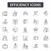 Efficiency Line Icons For Web And Mobile Design. Editable Stroke Signs. Efficiency  Outline Concept  poster