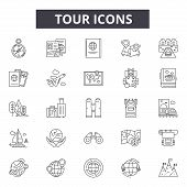 Tour Line Icons For Web And Mobile Design. Editable Stroke Signs. Tour  Outline Concept Illustration poster