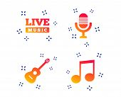 Musical Elements Icons. Microphone And Live Music Symbols. Music Note And Acoustic Guitar Signs. Ran poster