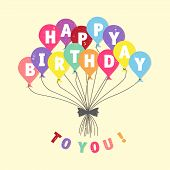 Vintage Colorful Word Happy Birthday To You On The Balloons. Abstract Design Letter Happy Birthday T poster