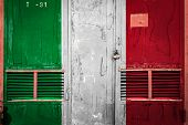 Close-up Of Old Warehouse Gate With National Flag Of Italy. Concept Of Italy  Export-import, Storage poster