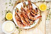 Grilled Big Tiger Shrimps Prawns On White Plate poster