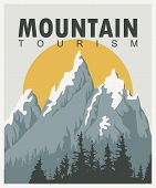 Vector Travel Banner In Retro Style With Snow Covered Mountains, Fir Trees, Sun And Words Mountain T poster
