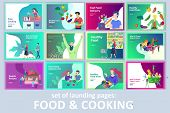 Set Of Landing Page Templates With People Which Cooking Healthy Organic Food, Simple Recipes, How To poster