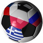 Isolated Soccer Ball With Flags Of Group A, 2012