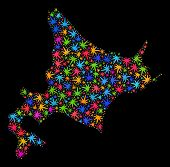 Bright Vector Cannabis Hokkaido Map Collage On A Black Background. Concept With Multi-colored Weed L poster