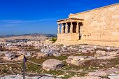 Acropolis, Porch Of Caryatids, Erechtheum Temple In Athens, Greece And Blue Sky poster
