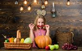 Farm Themed Games And Activities For Kids. Girl Kid At Farm Market With Fall Harvest. Child Little G poster