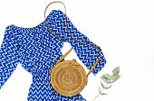 Stylish Trendy Feminine Summer Clothing Blue Dress Jumpsuit, Round Rattan Bag Sprig Eucalyptus On Wh poster