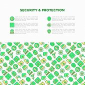Security And Protection Concept With Thin Line Icons: Mobile Security, Fingerprint, Firewall, Face I poster