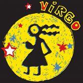 naive horoscope, hand drawn sign of the zodiac virgo