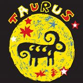 naive horoscope, hand drawn sign of the zodiac taurus