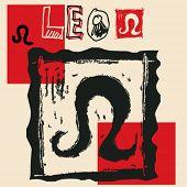 charcoal horoscope, hand drawn sign of the zodiac leo