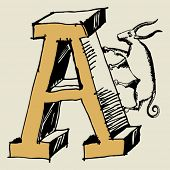 grotesque ABC, scribble letter A