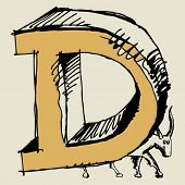 grotesque ABC, scribble letter D