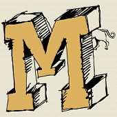 grotesque ABC, scribble letter M