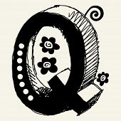 funny vector contre-jour ABC, hand drawn letter Q