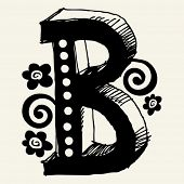 funny vector contre-jour ABC, hand drawn letter B