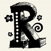 funny vector contre-jour ABC, hand drawn letter R