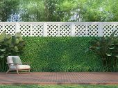 Outdoor Wood Terrace In The Garden 3d Render,  There Is A Wooden Floor Terrace,white Fence,furnished poster