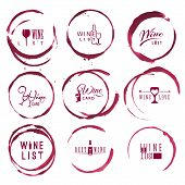 Wine Vintage Logo Set In Red Round Ring Stains poster
