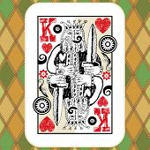 hand drawn deck of cards, doodle king of hearts