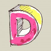 childlike gouache alphabet, hand drawn letter D