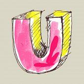 alfabeto infantil guache, letra de mão desenhada U