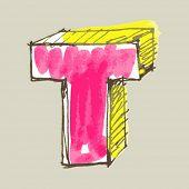 childlike gouache alphabet, hand drawn letter T