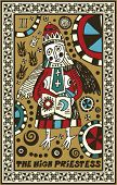 hand drawn tarot deck, major arcana, the high priestess