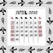 doodle calendar for year 2012, April