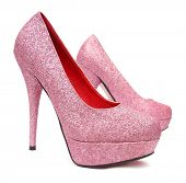 stock photo of pink shoes  - Pink high heels pump shoes - JPG