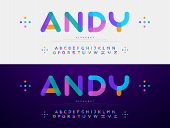 Modern Font Creative Rounded Alphabet Color Fonts. Typography Urban Round Bold With Colors Dot Expos poster